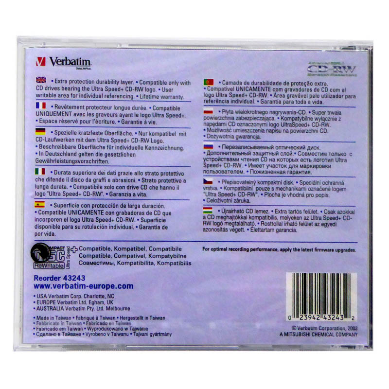 CD-RW 32x 700MB Verbatim Regrabable Caja Jewel 1 uds