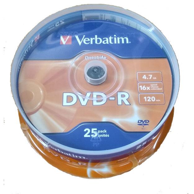DVD-R 16x Verbatim DataLife Tarrina 25 uds