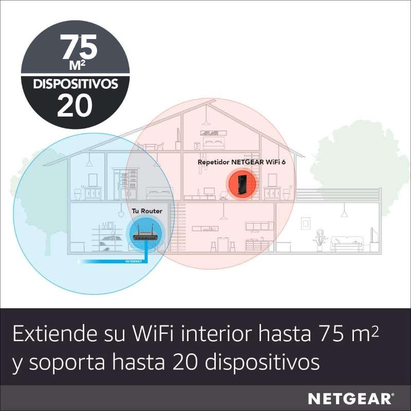 Repetidor WiFi Netgear EAX20 Negro