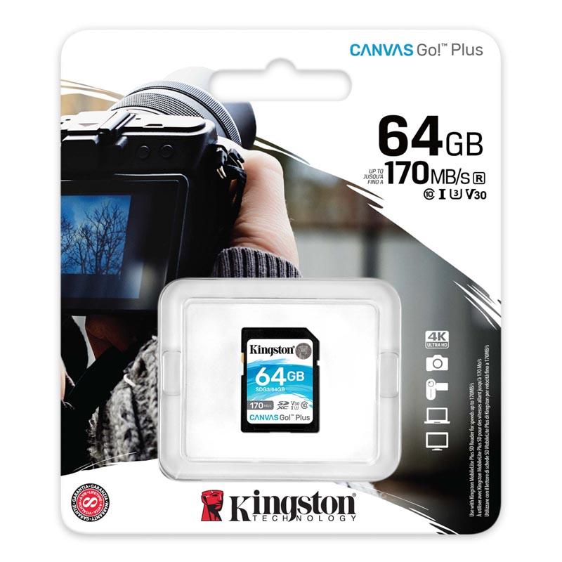 Kingston Canvas Go! Plus Tarjeta SDXC 64GB Clase 10 UHS-I U3 V30