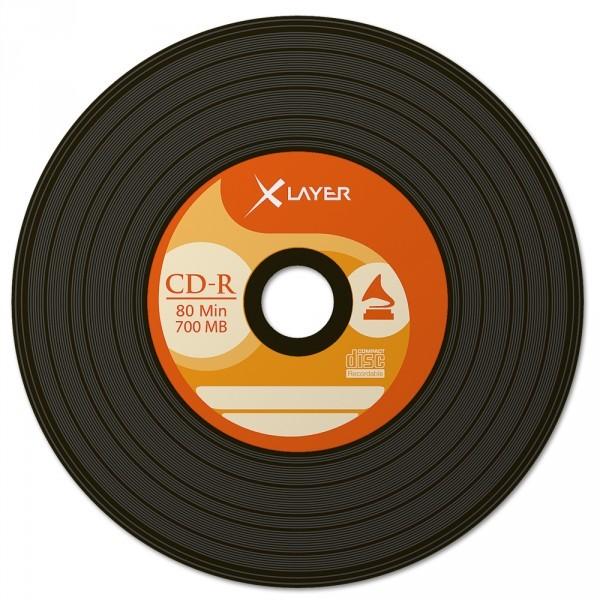 CD-R 48x 700MB Xlayer Vinyl Negro Tarrina 50 uds