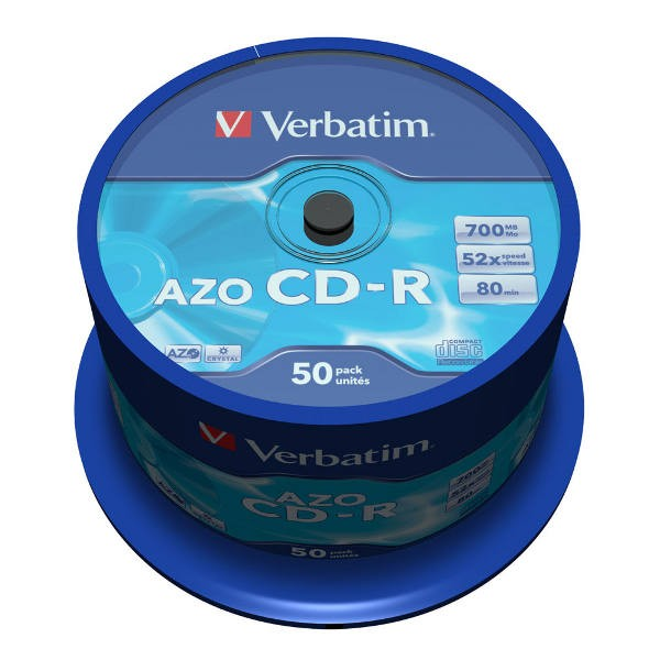 CD-R 52x 700MB Verbatim AZO Crystal Tarrina 50 uds