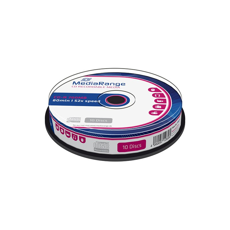 CD-R 52x 700MB MediaRange Tarrina 10 uds