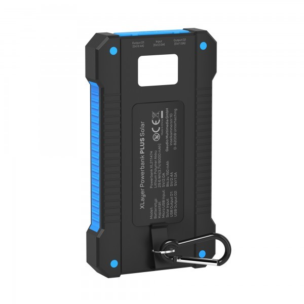 PowerBank XLayer PLUS Solar Black/Blue 8000mAh