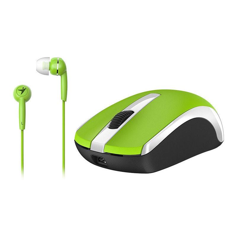 Ratón Inalámbrico + Auriculares Genius MH-8100 Verde 1600 DPI