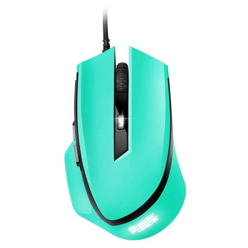 Ratón Óptico USB Sharkoon Shark Force 1600DPI / Mano Derecha / Menta