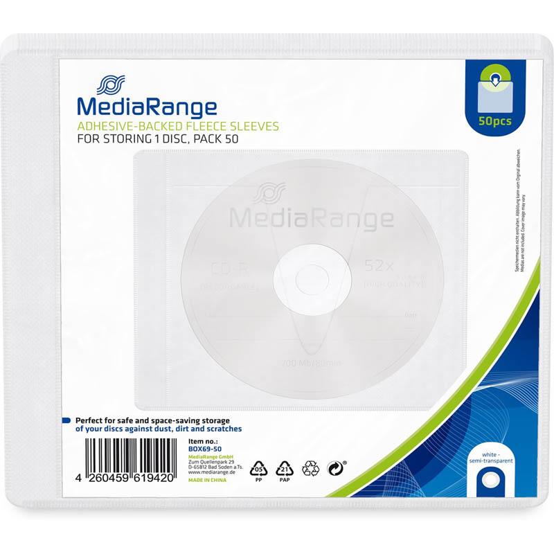 Sobre Plastico Autoadhesivo para CD/DVD Mediarange 50 uds