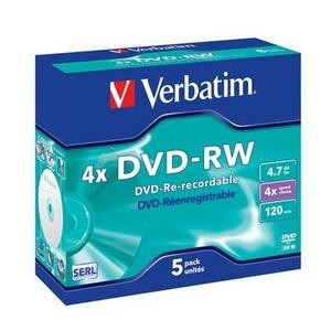 DVD-RW Verbatim 4x Caja Jewel Pack 5 uds