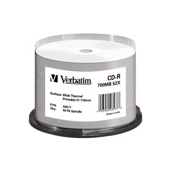 Cd-r verbatim 52x wide thermal printable cake 50