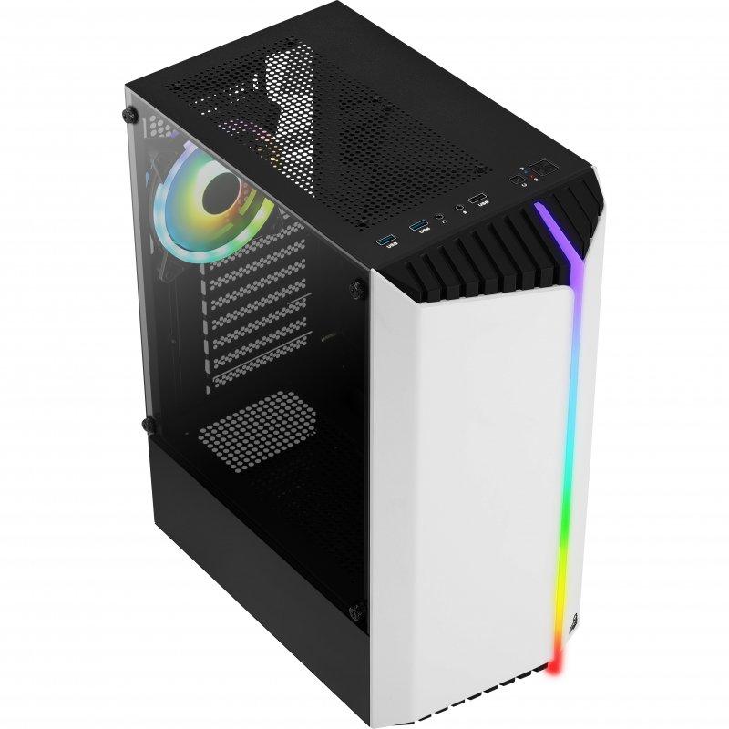Caja PC Aerocool Bionic V2 ATX RGB Cristal Templado USB 3.0 Blanca