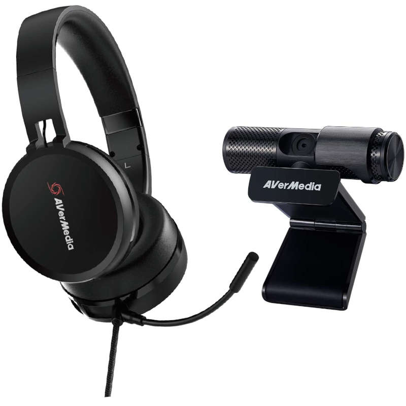 Kit Auriculares con Micrófono + Webcam FullHD Avermedia BO317