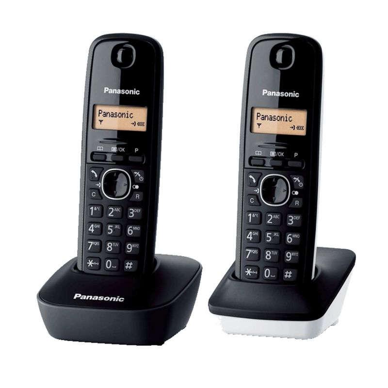 Pack 2 Teléfonos DECT Inalámbricos Panasonic KX-TG1612SP1 Negro