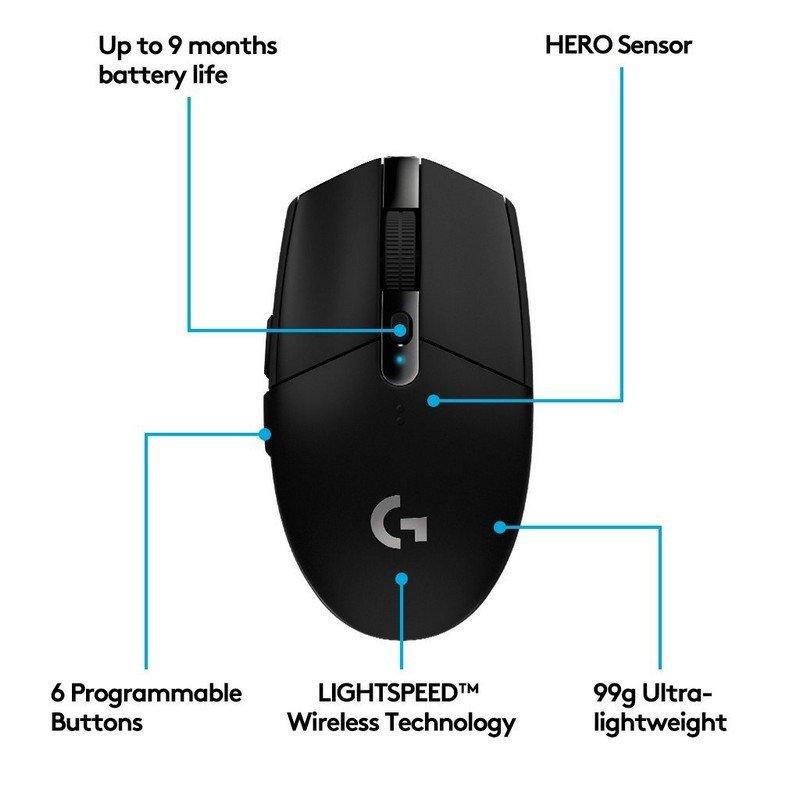Ratón Inalámbrico Gaming Logitech G305 LightSpeed 12000DPI Negro