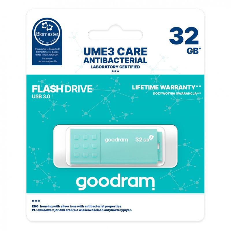 Pendrive Goodram Ume3 Care 32GB USB 3.0 Turquesa