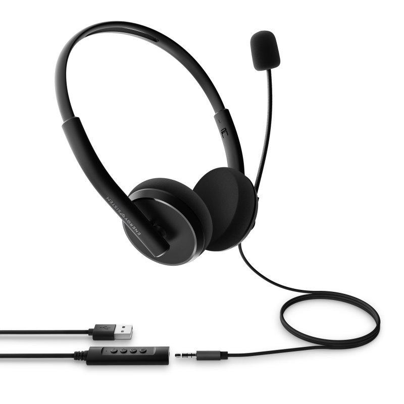 Auriculares con Micrófono Energy Sistem Headset Office 2+ Negro