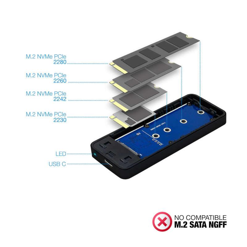 Caja Externa para SSD M.2 NVMe PCIe TooQ TQE-2280B Negra