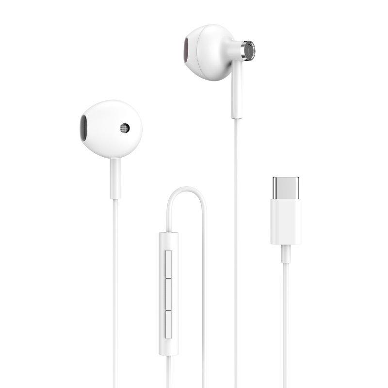 Auriculares Home YEP-05 con Control de Volumen USB-C 1m Blancos