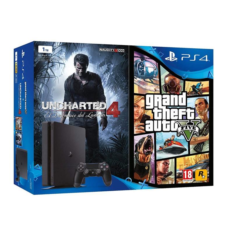 Sony PlayStation 4 Slim 1TB + GTA V + Uncharted 4