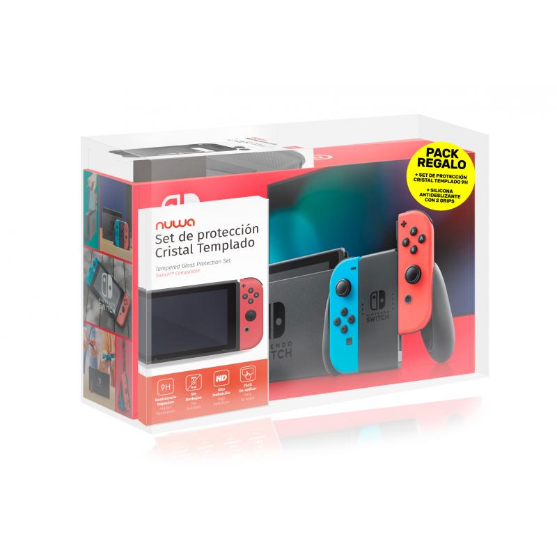 Nintendo Switch Azul Neón Rojo Neón - V2 + Protector