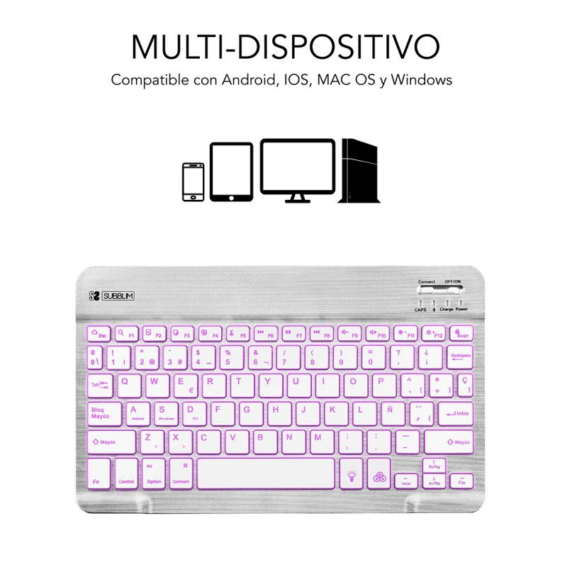 Teclado Bluetooth Subblim Smart Backlit Plata