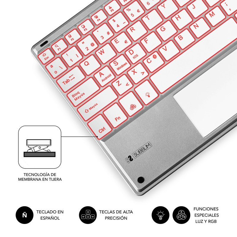 Teclado Bluetooth con Touchpad Subblim Smart Backlit Plata