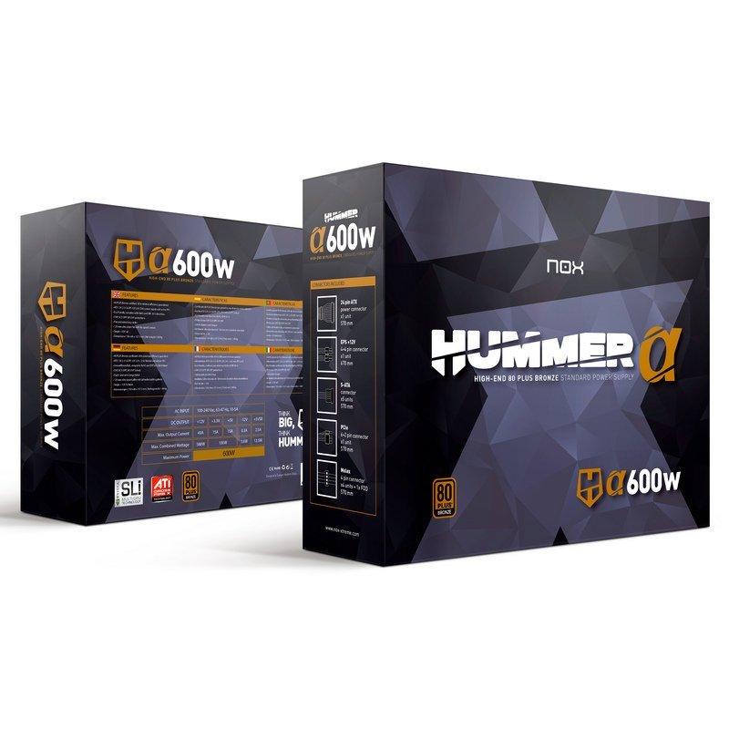 Fuente de Alimentación NOX Hummer Alpha 600W 80 Plus Bronce
