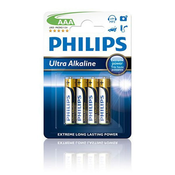 Pila Alcalina AAA Philips Ultra Alkaline pack 4 uds (LR03)