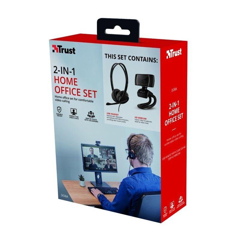 Trust Combo Doba Webcam HD 720p + Auriculares con Microfono USB