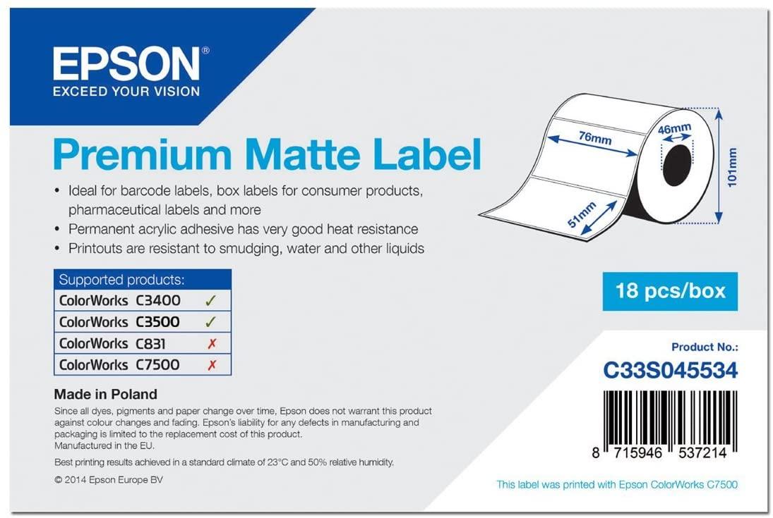 Epson 650 Etiquetas Mate Premium Blanco (76mm x 51mm)