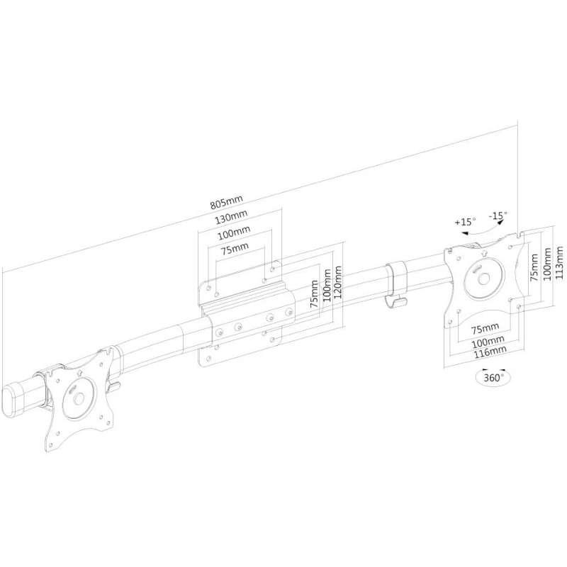 Soporte Monitor Doble NewStar FPMA-CB100BLACK VESA 100x100 10-27\