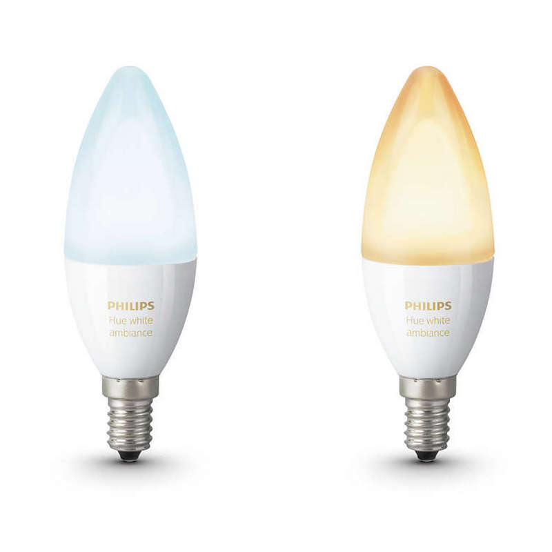 Pack 2 Bombillas Vela Ambiental LED E14 6W Philips Hue White Ambiance