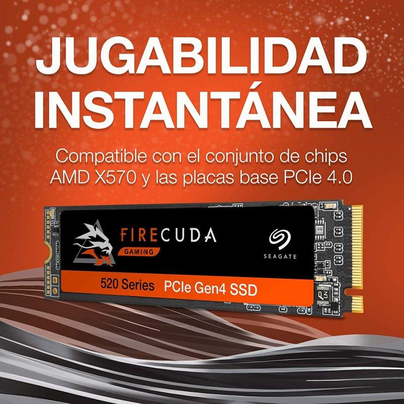 Disco Duro SSD 2TB Seagate FireCuda 520 M.2 PCI Express 4.0 3D TLC NVMe 1.3