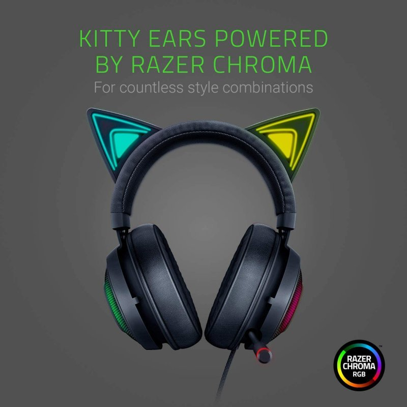 Auriculares Gaming Razer Kraken Kitty Edition Negros