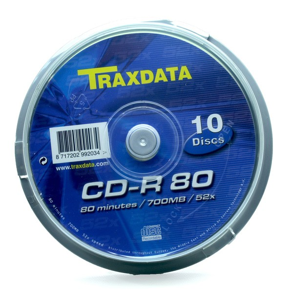 CD-R 52X 700MB Traxdata CD-R80 Tarrina 10 uds