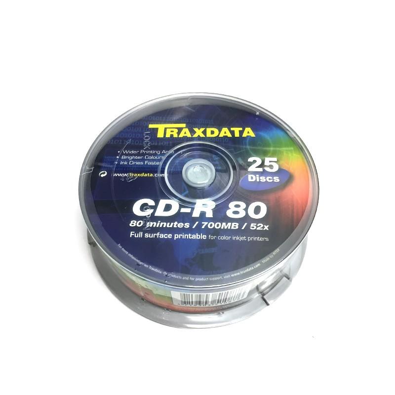 CD-R 52X Traxdata 9017A3ITRA010 FF Printable Tarrina 25 uds