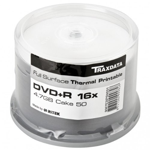 DVD+R 16X Traxdata Thermal Printable FF White Tarrina 50 uds (by Ritek)