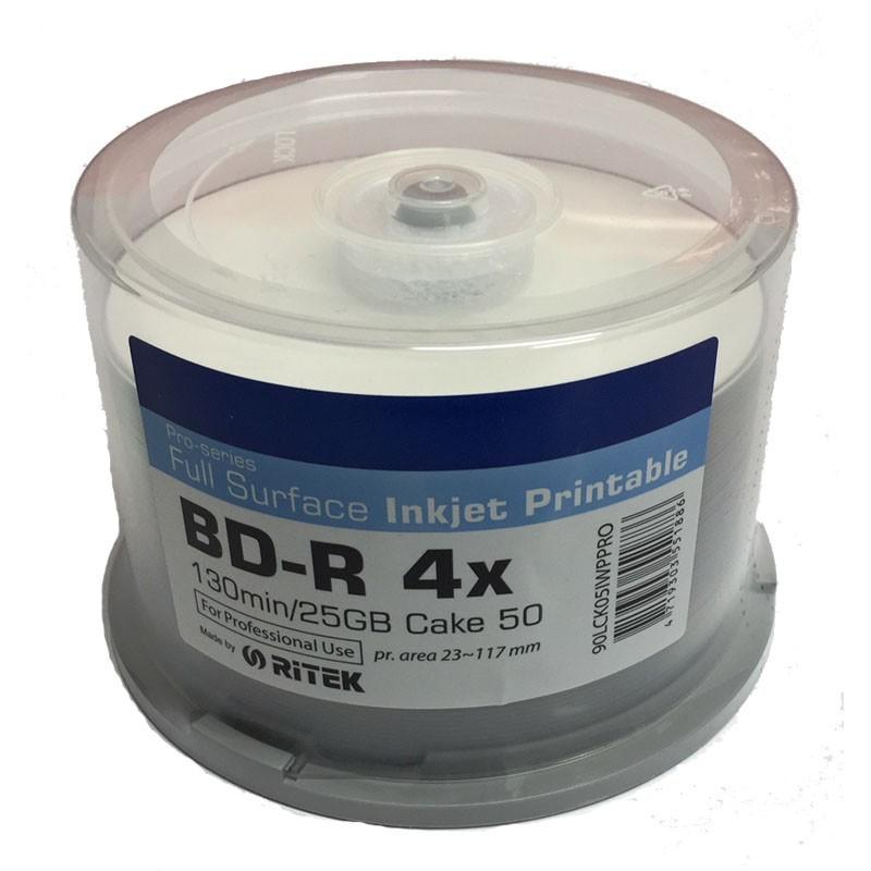Blu-ray BD-R SL 25GB 4X Ritek Pro-Series FF InkJet 50 uds