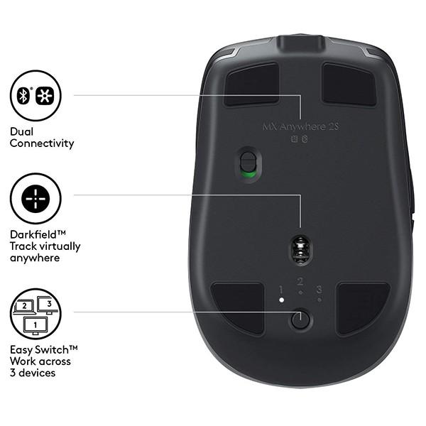 Ratón Inalámbrico Bluetooth Logitech MX Anywhere 2S Grafito