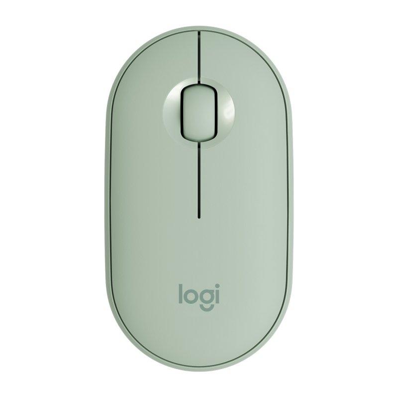 Ratón Inalámbrico Bluetooth Logitech Pebble M350 1000 DPI Verde Eucalipto