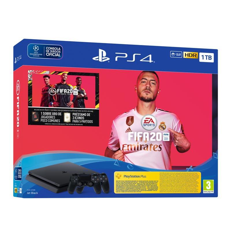 Sony PlayStation 4 Slim 1TB + FIFA 20 + 2 Mandos + PS Plus 14 Dias