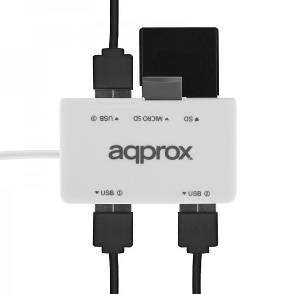 Lector Multitarjetas Approx APPHT8W 3 Puertos USB2.0