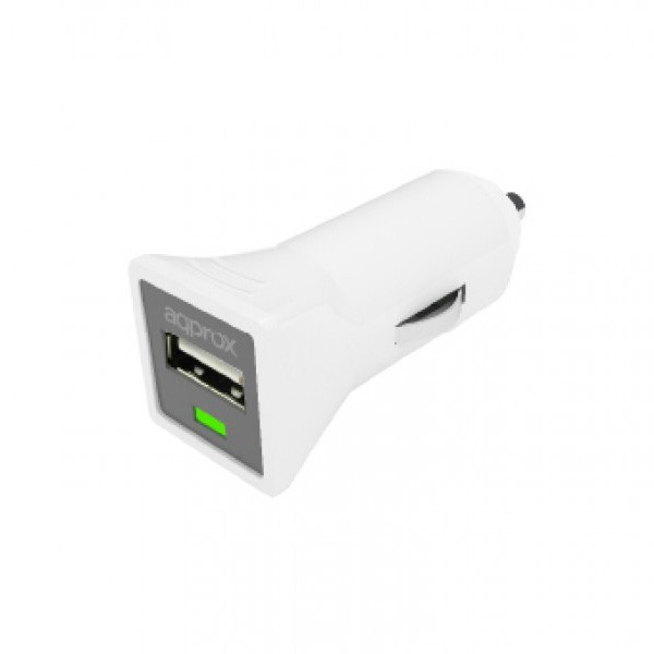 Cargador Universal USB para Coche Approx Blanco (1A)