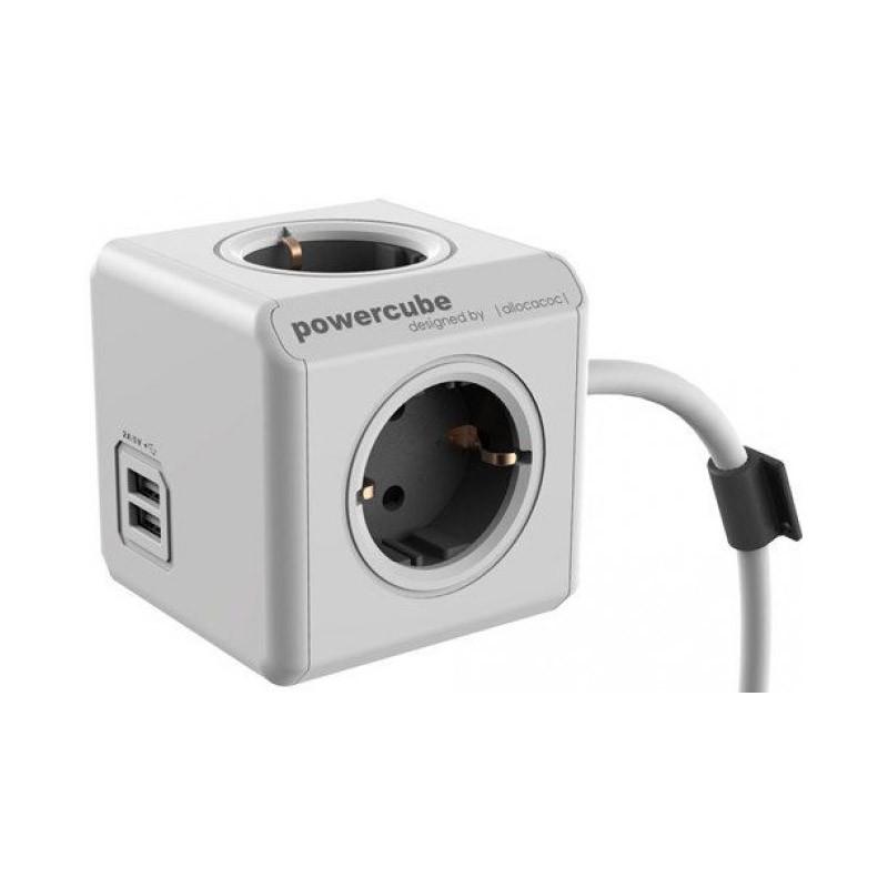 Regleta Allocacoc PowerCube 4 Tomas + 2 USB 1.5M Rojo