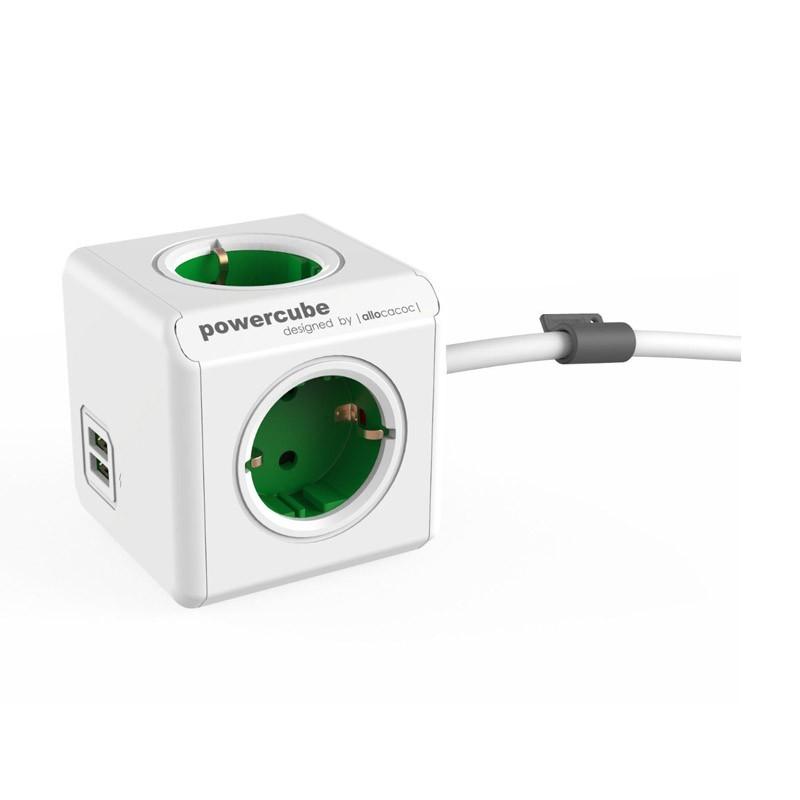 Regleta Allocacoc PowerCube 4 Tomas + 2 USB 1.5M Verde