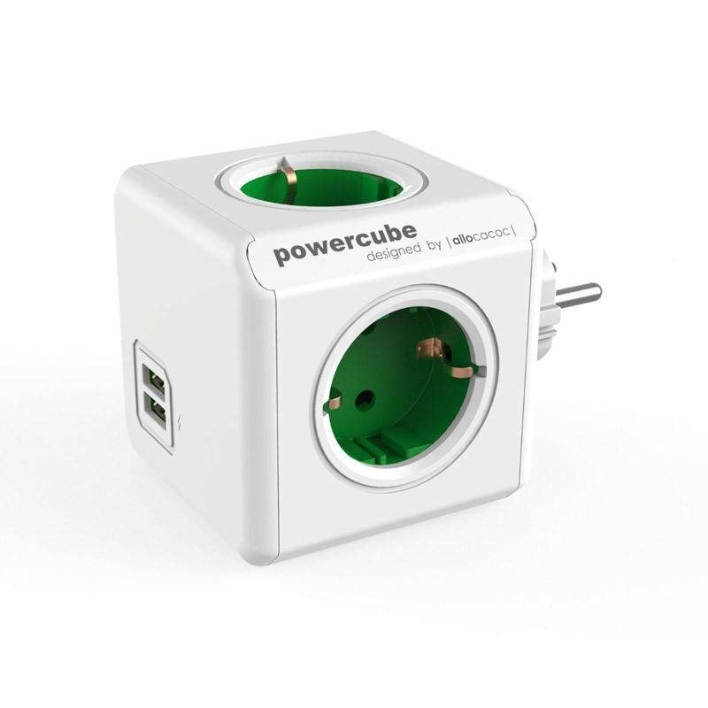 Regleta Allocacoc PowerCube 4 Tomas + 2 USB Verde