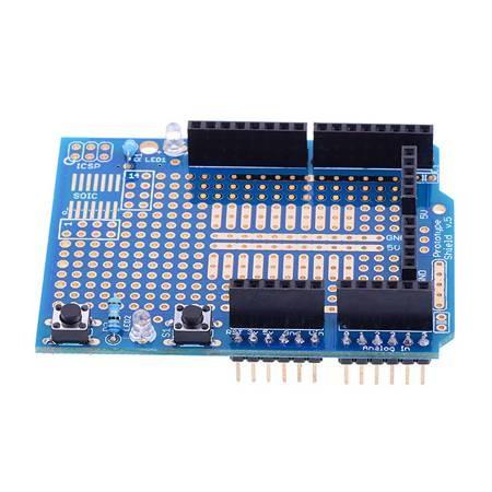 Arduino Shield Prototipo con Placa de Pruebas