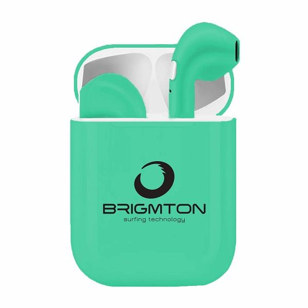 Auriculares Bluetooth con Base de Carga Brigmton BML-18 Verde Turquesa