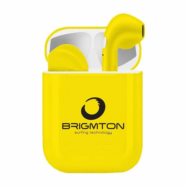 Auriculares Bluetooth con Base de Carga Brigmton BML-18 Amarillo