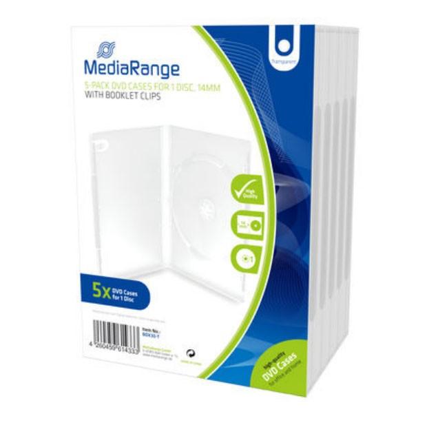 Mediarange caja dvd 14mm 5 uds - transparente