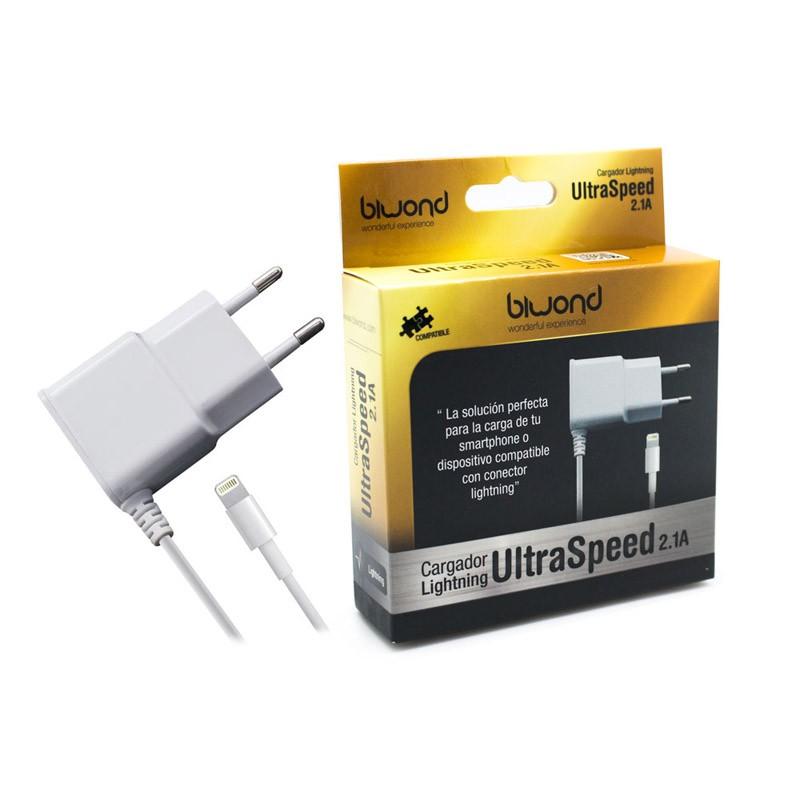 Biwond Cargador Lightning Ultraspeed 2.1A Blanco (iPhone/iPad)